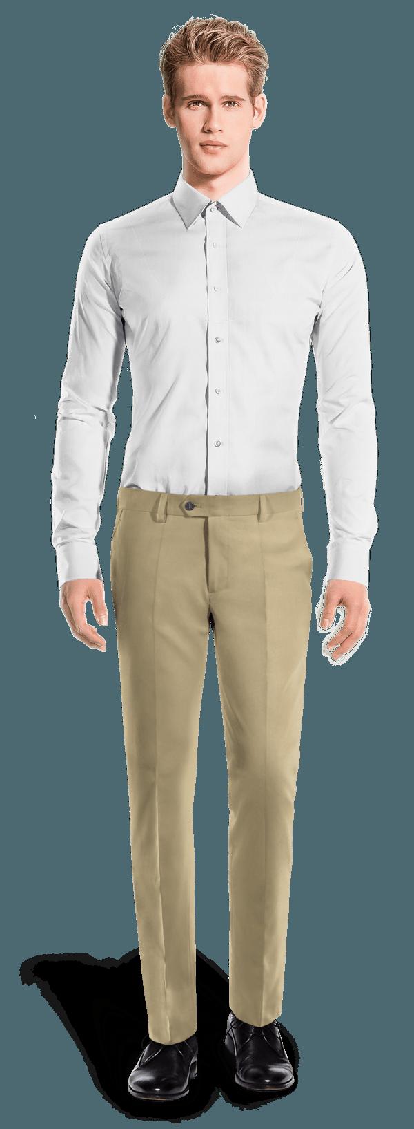 Chino marron coupe cintrée