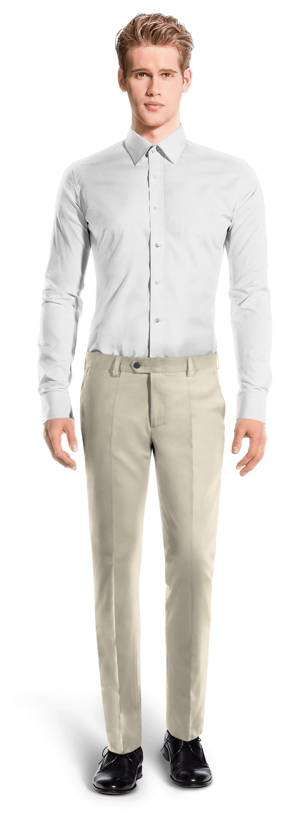 Chino beige coupe cintrée