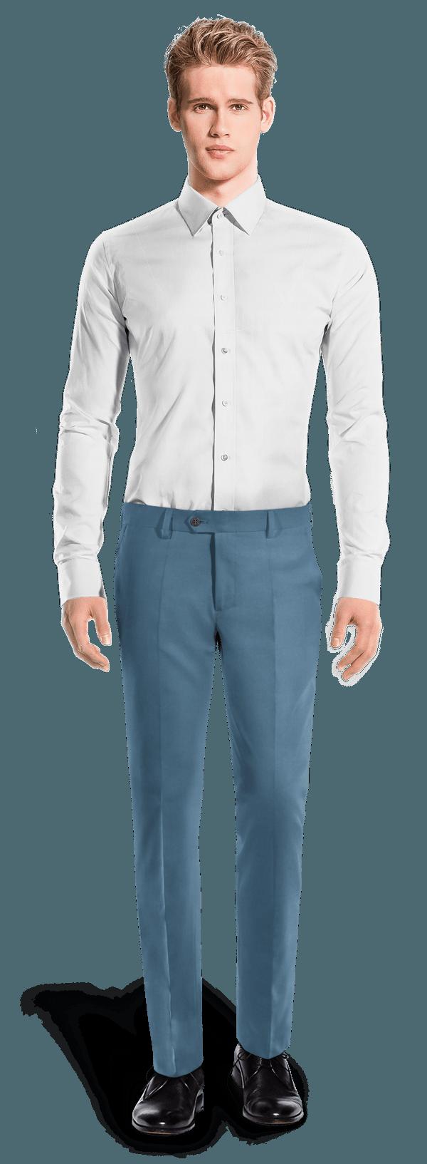 Chino bleu coupe cintrée