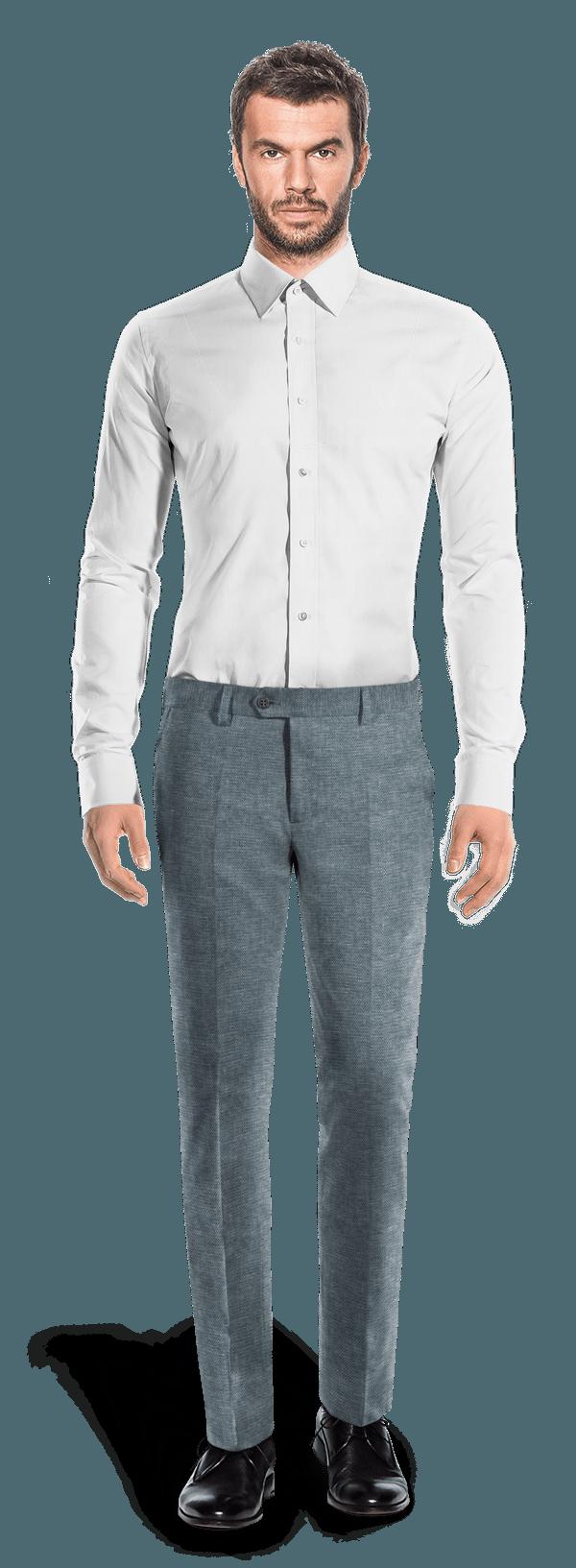 Pantalon bleu coupe cintrée en Lin