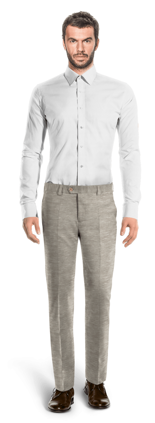 Grey straight fit linen Pants