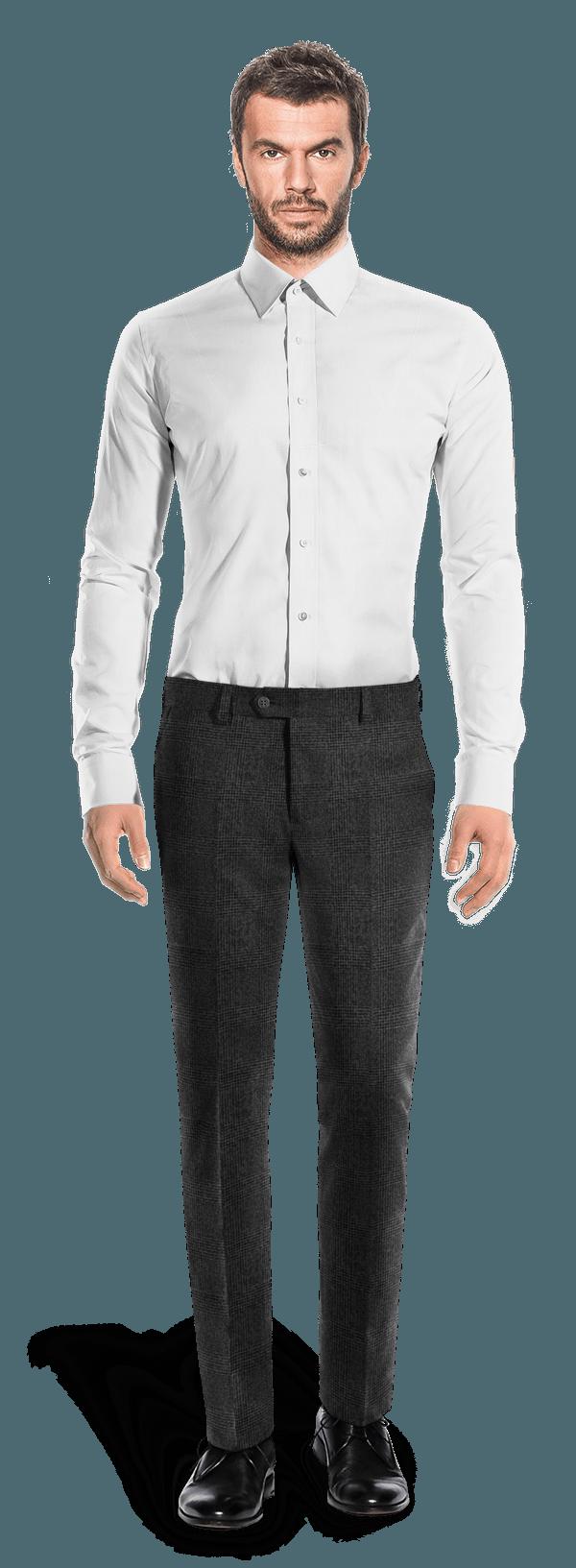 Graue karierte Hose aus tweed