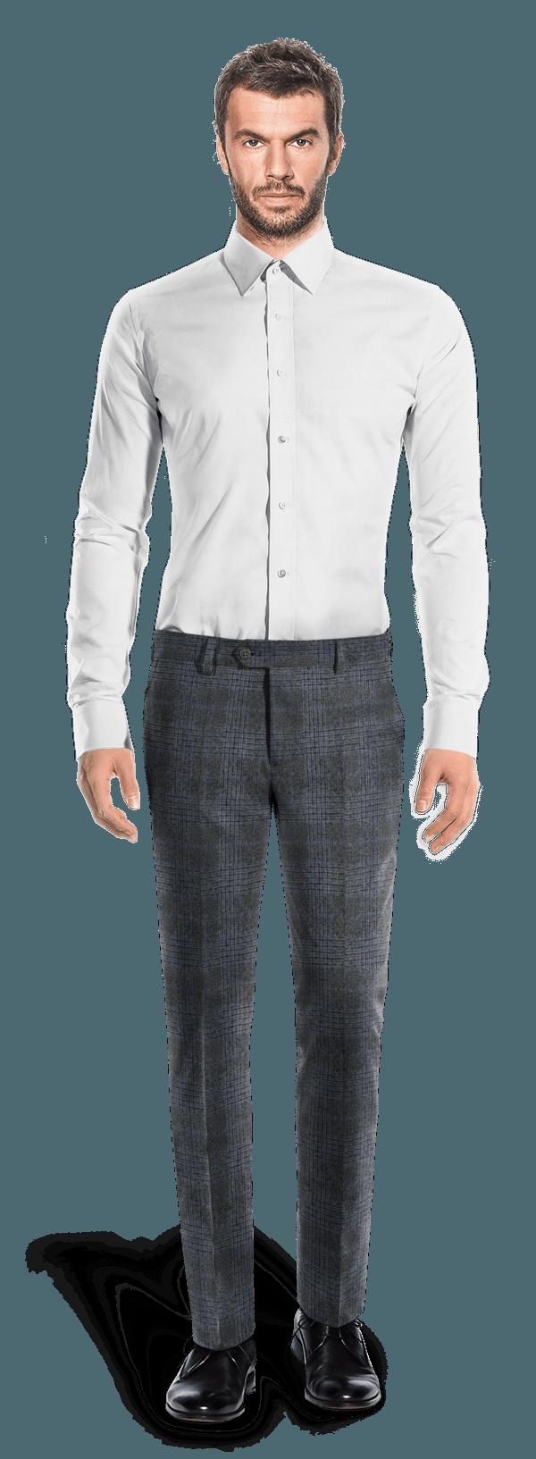 Pantalon gris coupe cintrée à carreaux 100% laine