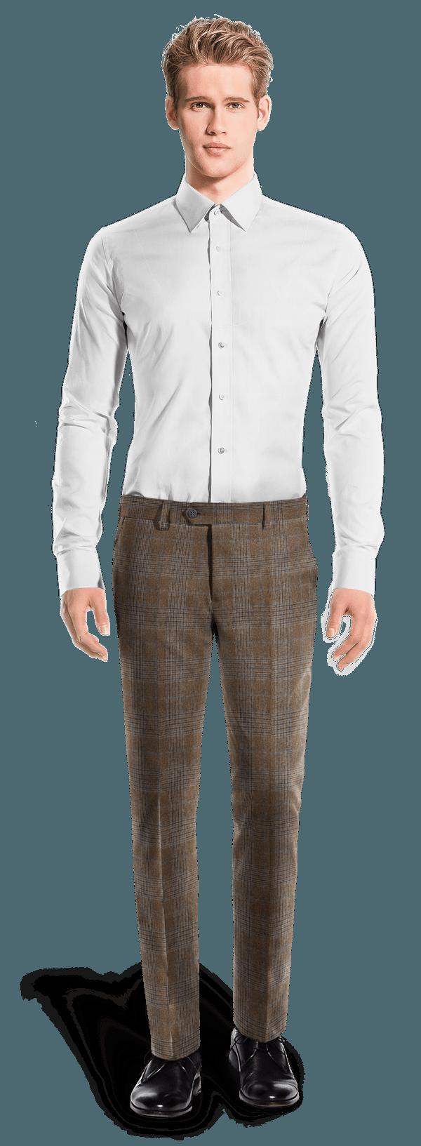 Braune karierte Hose aus Wolle