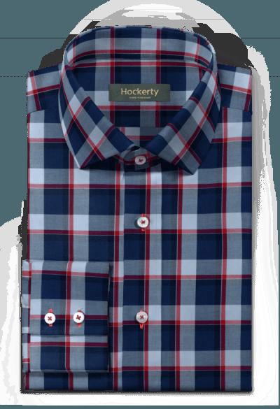 Camicia blu a quadri 100% cotone
