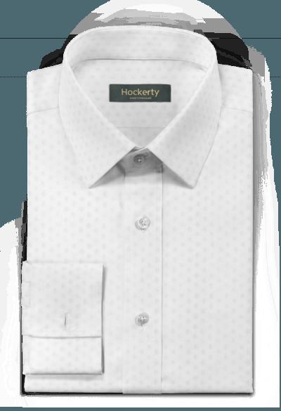 белая хлопковая рубашка с запонками с микрорисунком