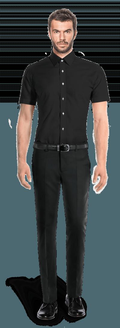 Chemise noire manches courtes 100% coton