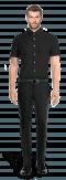 Chemise noire manches courtes 100% coton-Vue Avant