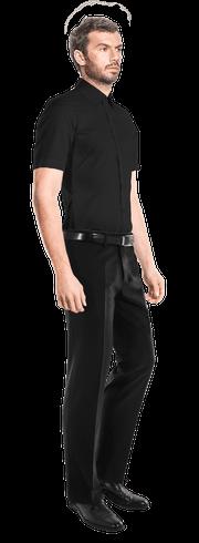 Chemise noire manches courtes 100% coton-side