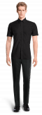 Black short sleeved linen Shirt-View Front