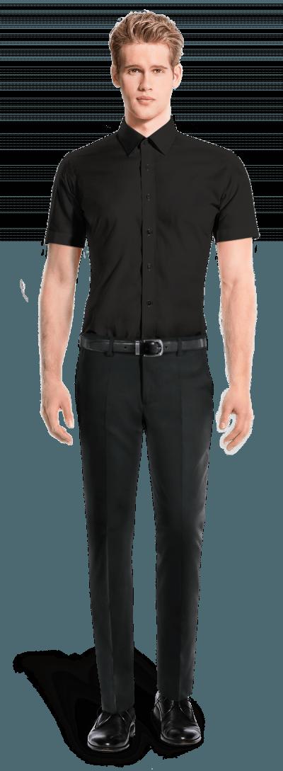Chemise noire manches courtes