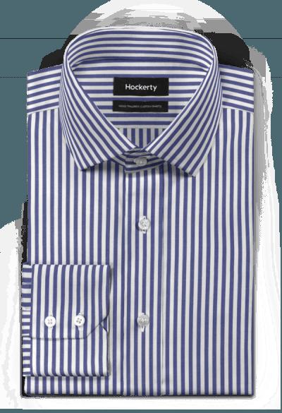 Blaues gestreiftes Hemd aus Baumwolle