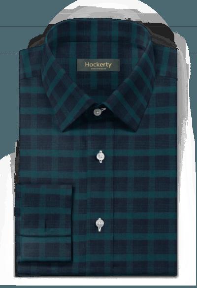 Grünes kariertes flanell Hemd mit Umschlag