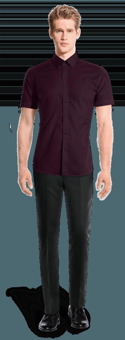 красная рубашка с коротким рукавом