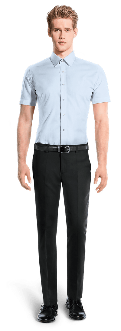 Camicia a maniche corte blu 100% cotone