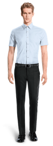 Chemise bleue manches courtes 100% coton-Vue Avant