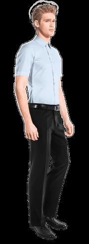Blue short sleeved 100% cotton Shirt-side