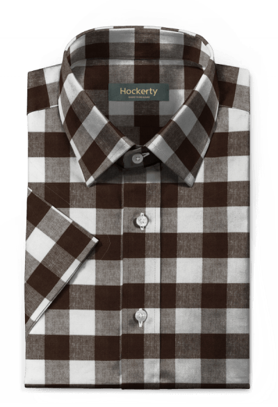Brown short sleeved checked linen Shirt