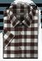 Brown short sleeved checked linen Shirt-folded