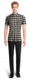 Brown short sleeved checked linen Shirt-View Front