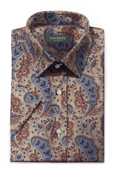 Beige short sleeved paisley 100% cotton Shirt