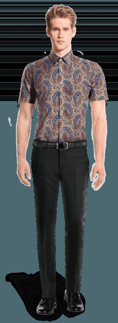 Beige short sleeved paisley 100% cotton Shirt