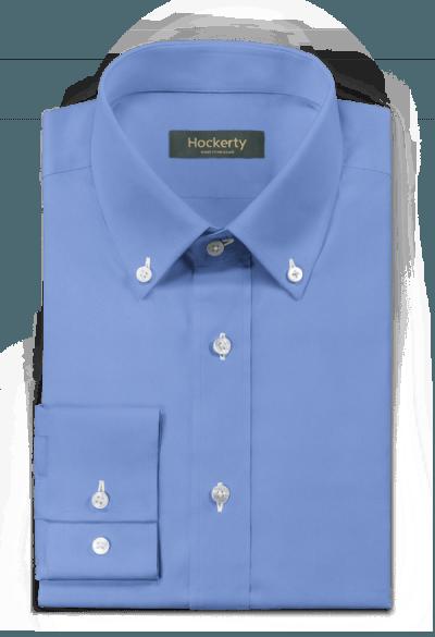 Blue Cotton Blend Solid Poplin Formal Business Dress Shirt Contrast White Collar