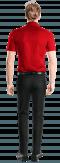 красная хлопковая рубашка с коротким рукавом-Вид сзади