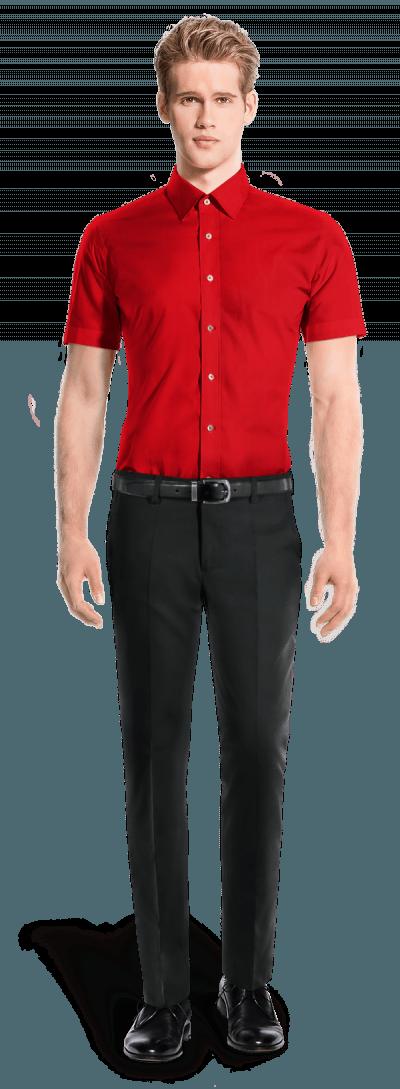 красная хлопковая рубашка с коротким рукавом