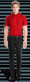 красная хлопковая рубашка с коротким рукавом-Вид спереди