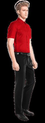 красная хлопковая рубашка с коротким рукавом-side