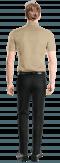 Camicia a maniche corte beige di lino-Vista Posteriore