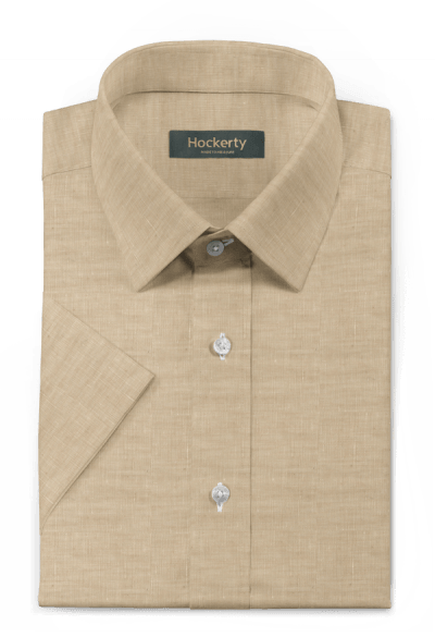 Beige short sleeved linen Shirt