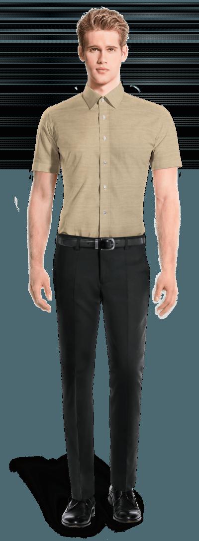 Camicia a maniche corte beige di lino