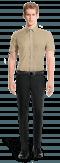 Camicia a maniche corte beige di lino-Vista Frontale