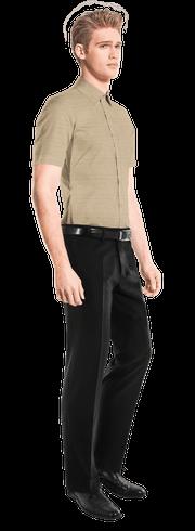 Camicia a maniche corte beige di lino-side