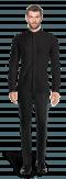 Schwarzes Hemd aus Leinen-Ansicht Vorderseite