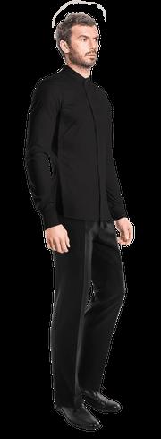 Schwarzes Hemd aus Leinen-side