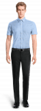 Blue short sleeved checked 100% cotton Shirt-View Front