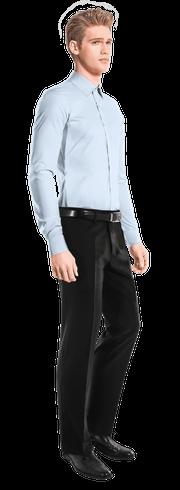 синяя хлопковая рубашка-side