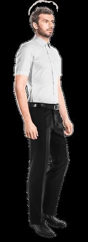 белая рубашка с коротким рукавом-side