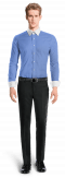 синяя хлопковая рубашка-Вид спереди