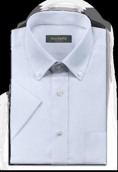 Premium Light Blue short sleeves no-iron cotton button down dress Shirt with chest pocket