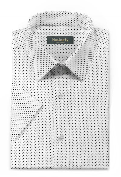 White short sleeved dotted 100% cotton Shirt