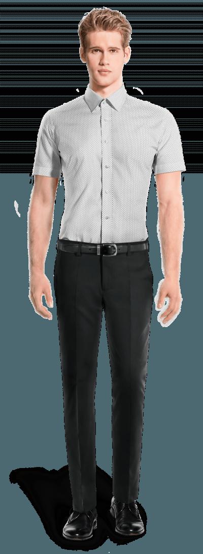 Chemise blanche manches courtes à pois 100% coton