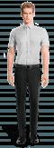 Chemise blanche manches courtes à pois 100% coton-Vue Avant