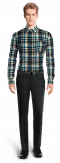 Blue flannel checked Shirt-View Front