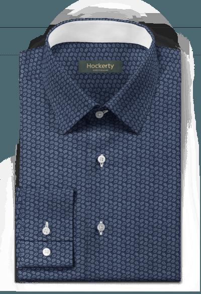 Camicia blu Paisley 100% cotone