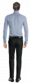 синяя хлопковая рубашка в полоску-Вид сзади