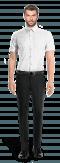 Chemise blanche manches courtes oxford-Vue Avant